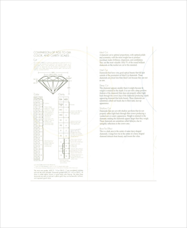 Diamond Color Scale And Clarity Chart Template   Free Pdf
