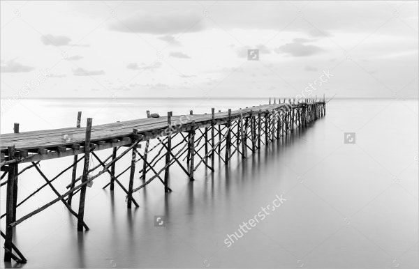 Black & White Photography of Beach Wooden Pier