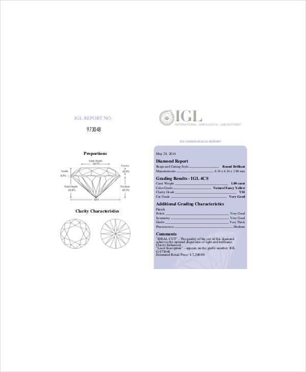 Diamond Grades Clarity Chart Template   Free Pdf Documents