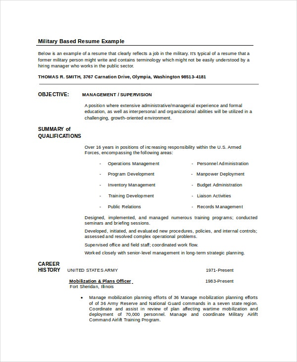 special training infantryman resume