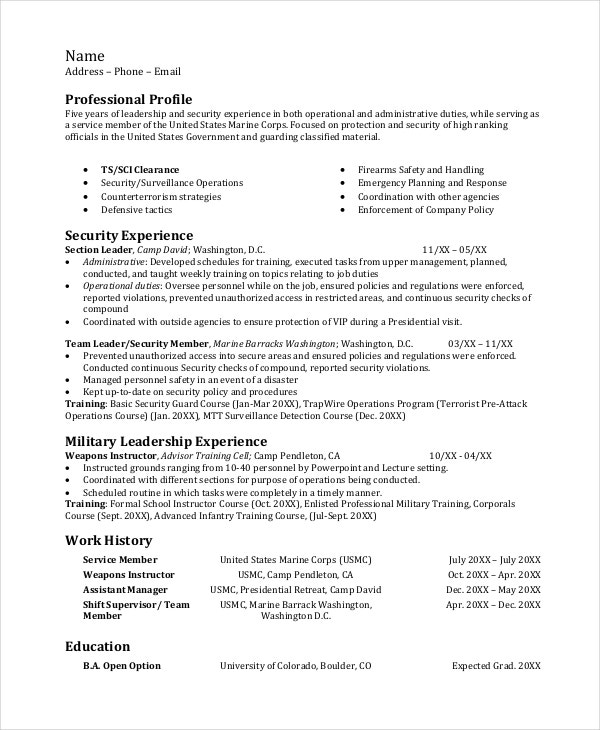 Infantryman Resume Template 7 Free Word PDF Document Downloads