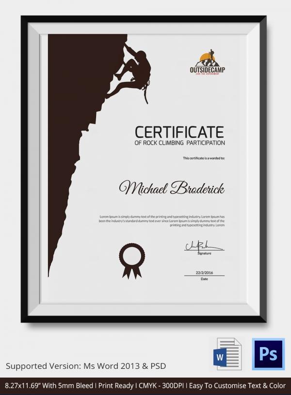 Rock Climbing Certificate - 5+ Word, PSD Format Download ...