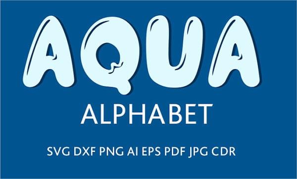 aqua water font alphabet