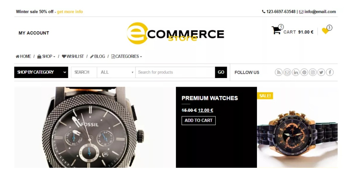 eCommerce Watches Free WordPress Theme