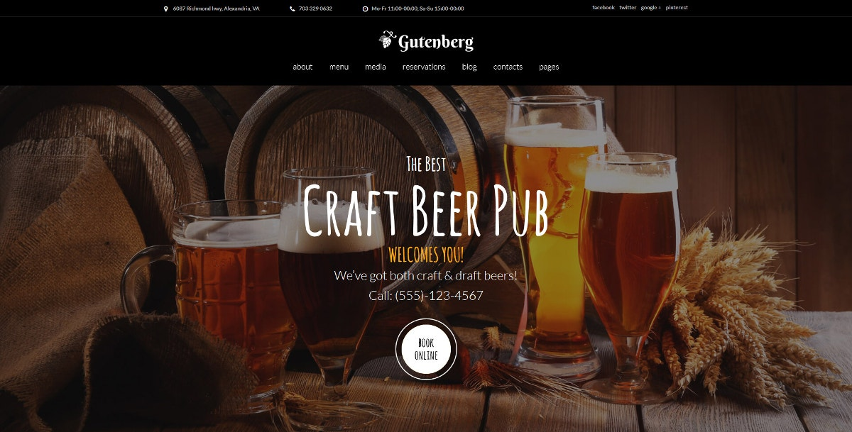 Wine & Pub WordPress Theme $75