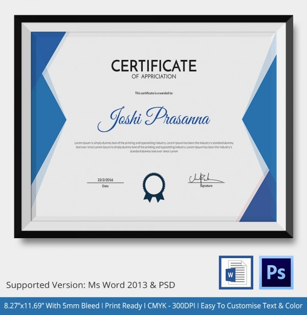 Certificate Of Coach Template - 5+ Word, Psd Format Download