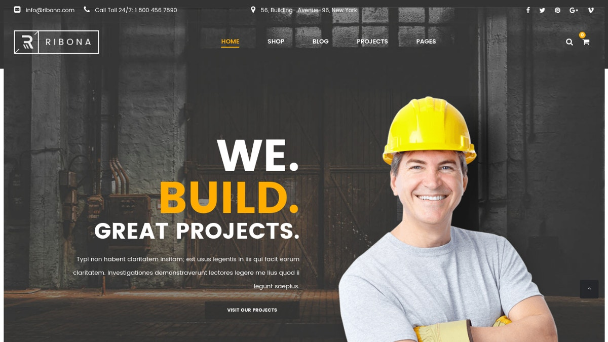 Building Construction WordPress Theme $59