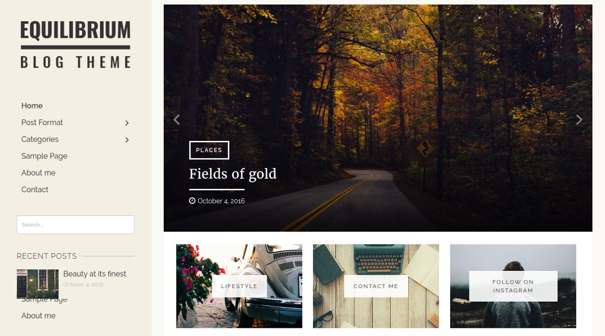 Minimalist Personal WordPress Blog Theme $40
