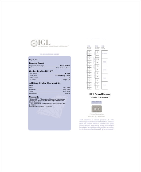 Diamond Clarity Chart Template   Free Pdf Documents Download