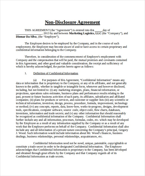Non Disclosure Agreement Template Free Word PDF Document - Confidentiality and nondisclosure agreement template