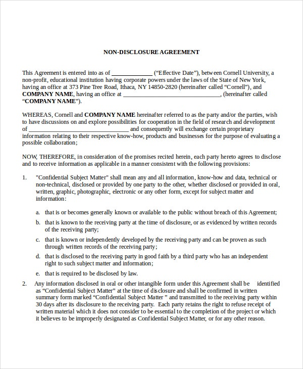 Non disclosure agreement template 8 free word pdf for Free non disclosure agreement template