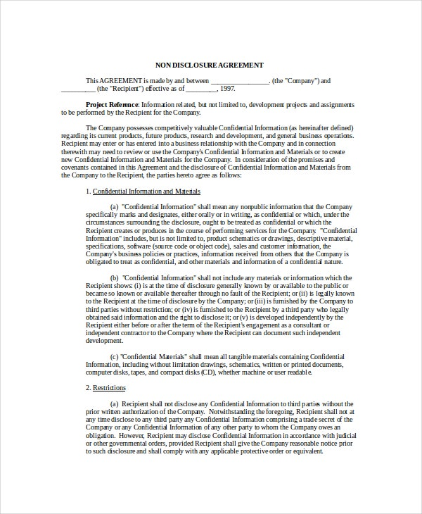 Non Disclosure Agreement Template   Free Word Pdf Document