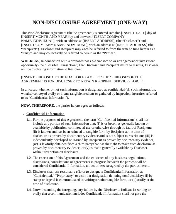 business non disclosure agreement template