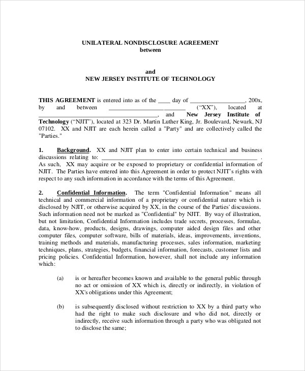 Unilateral Non-Disclosure Agreement Template