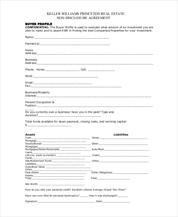 Real Estate Non Disclosure Agreement Template