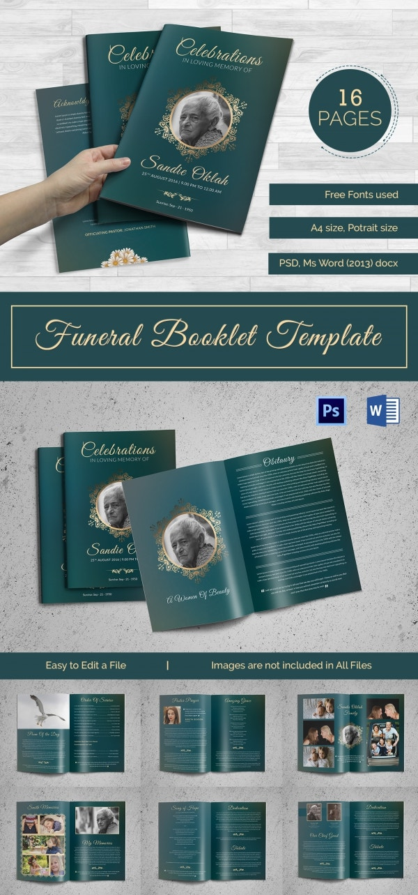 Obituary Funeral Booklet Template
