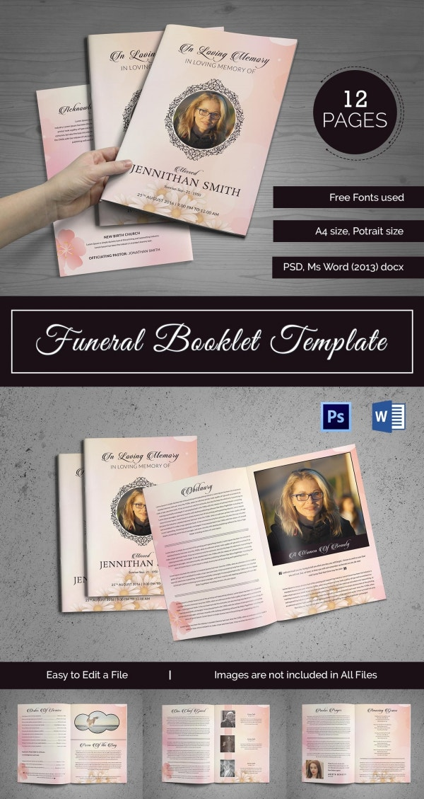 Uniquely Designed Funeral Booklet Template