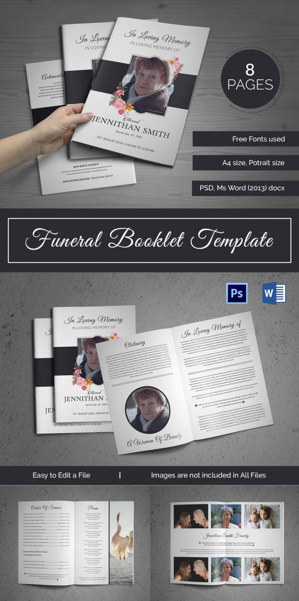 Customizable Funeral Booklet Template