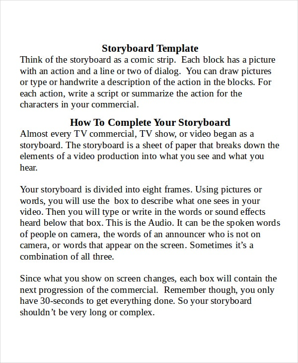 Storyboard Template Word