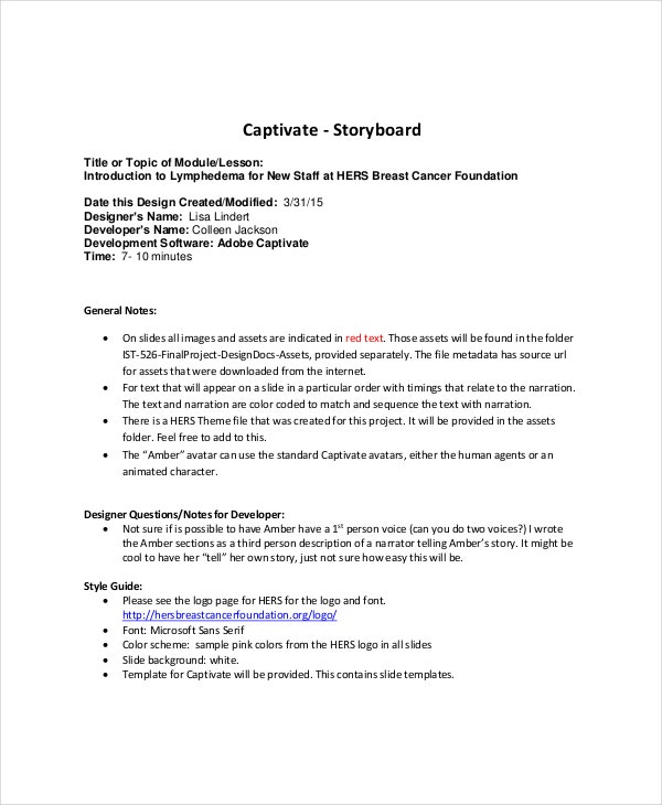 Captivate Storyboard Template