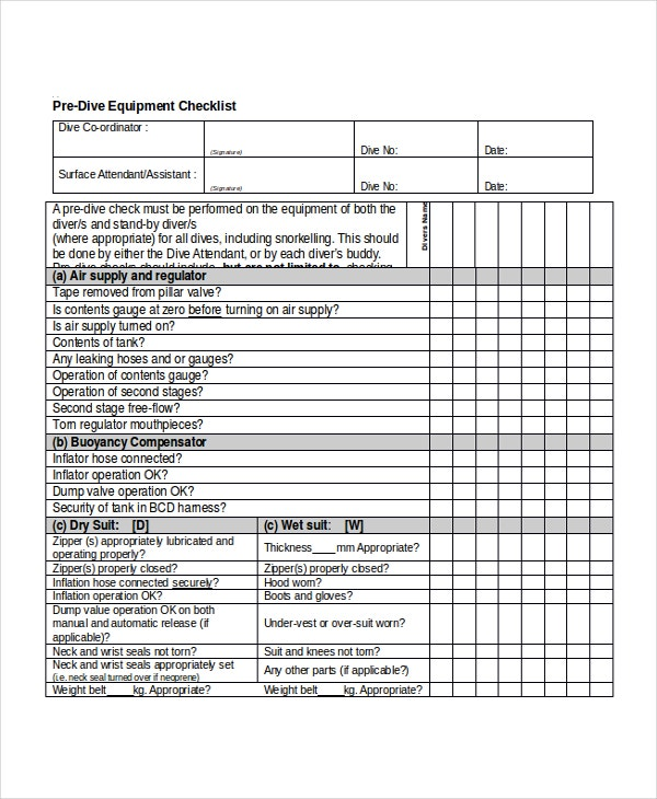 Checklist template 10 free word excel pdf document downloads equipment checklist template pronofoot35fo Image collections
