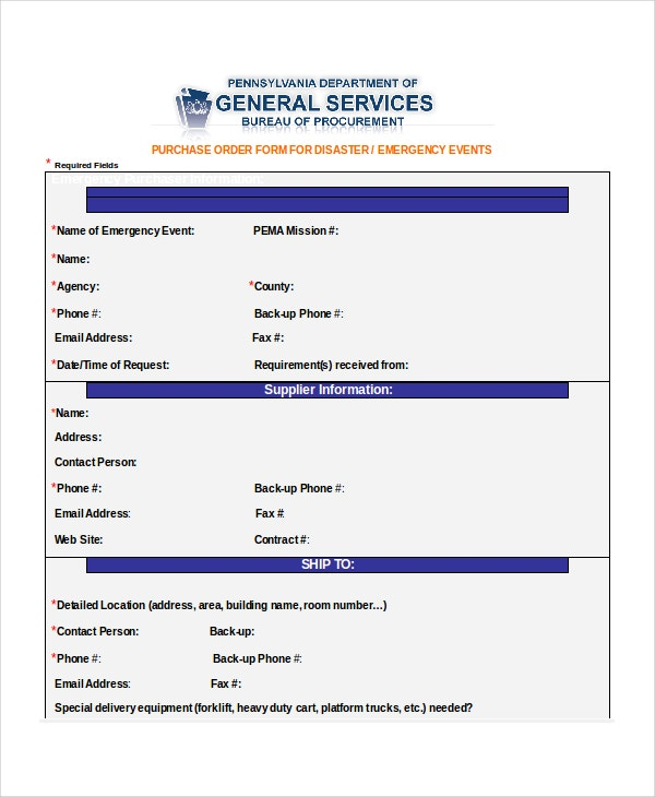 simple emergency purchase order form