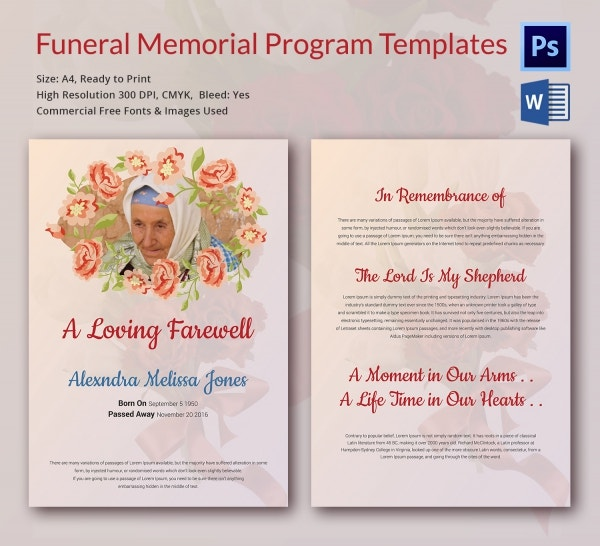 Elegant Funeral Memorial Program Template