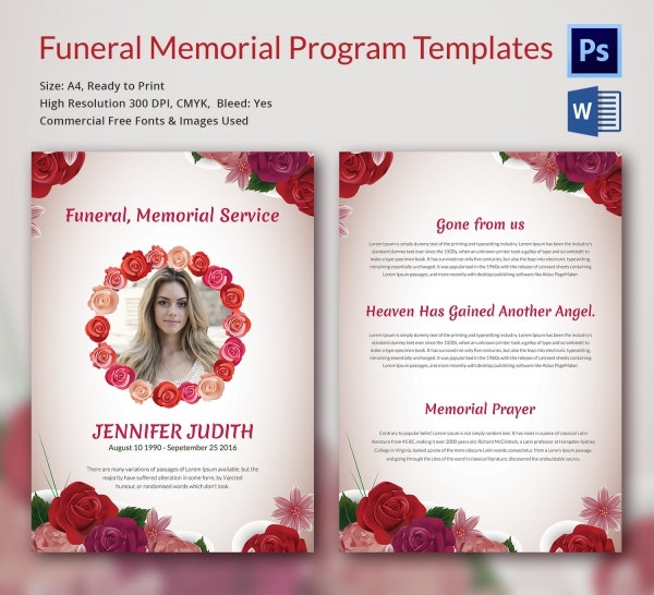 Funeral Memorial Program Template Download  Free Memorial Template