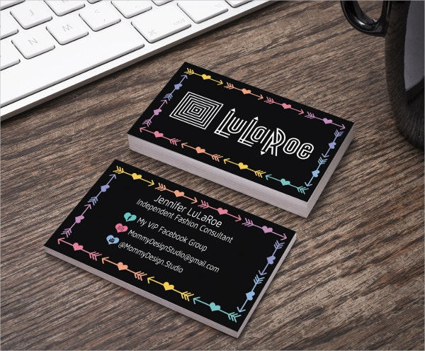 Black Arrow & Heart Design Business Card
