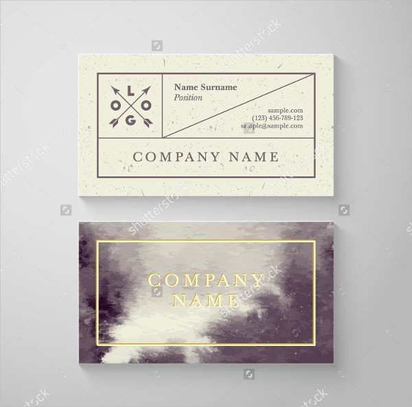 trendy watercolor business card