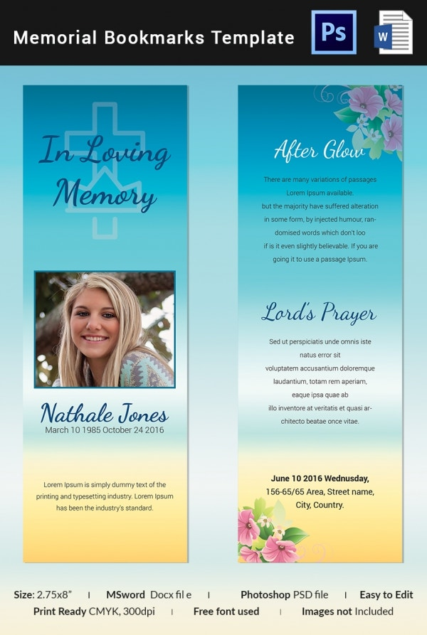 Premium Memorial Bookmark Template