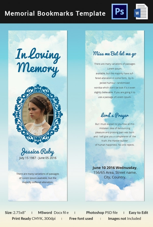 Editable Memorial Bookmark Template