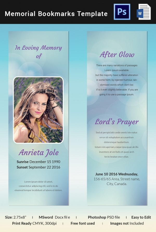 Elegant Memorial Bookmark Template  Free Memorial Template