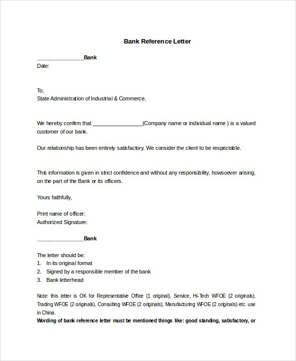 11+ Reference Letter Templates  Bank Reference Letter Template