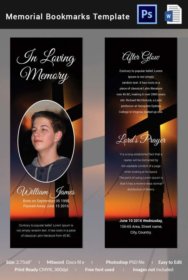 Cherished Memorial Bookmark Template
