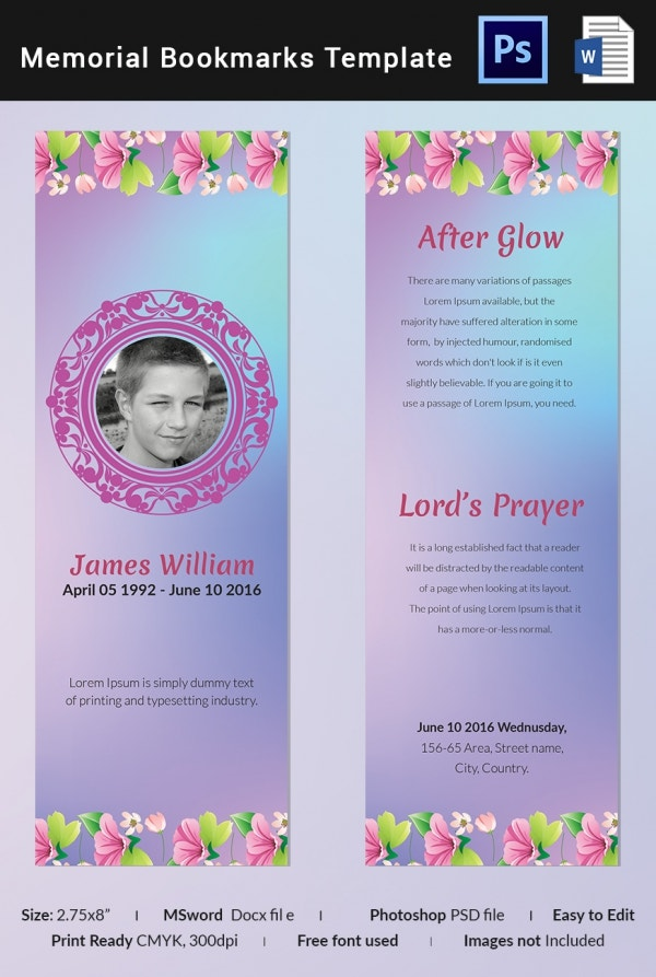 Obituary Memorial Bookmark Template  Memorial Card Template Word