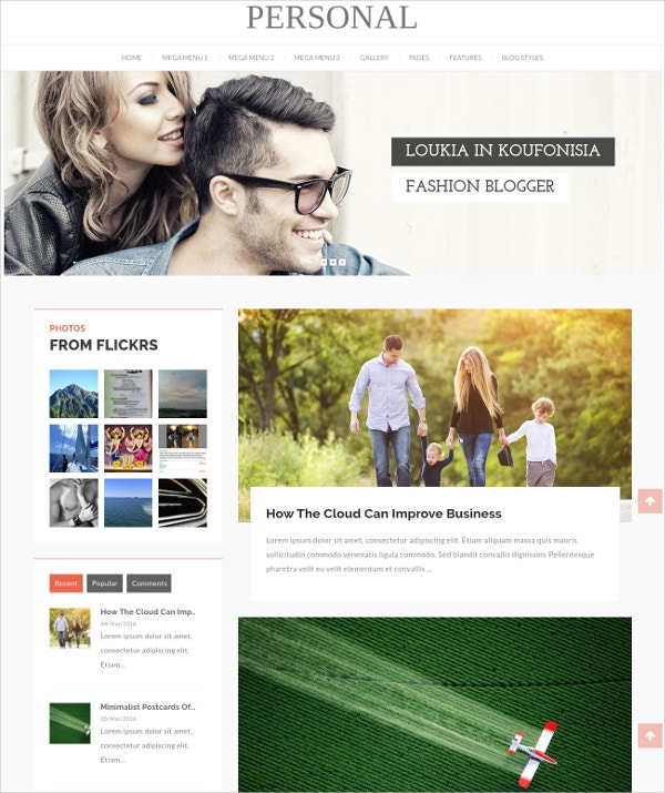 Personal Profile Video Blog WordPress Theme $44