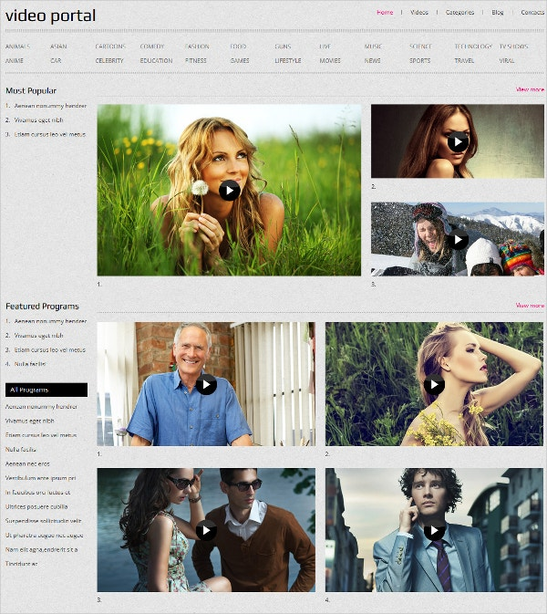 Video Portal & Gallery Blog Joomla Template $75