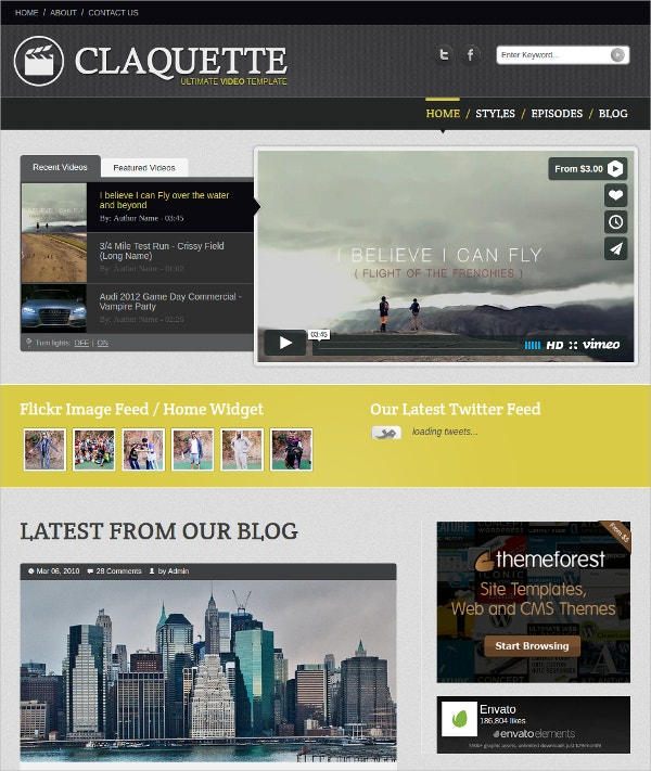 Video Blog & Web Designer HTML Template $17
