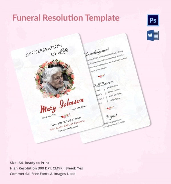 Funeral resolution template 5 word psd format download for Death resolution template
