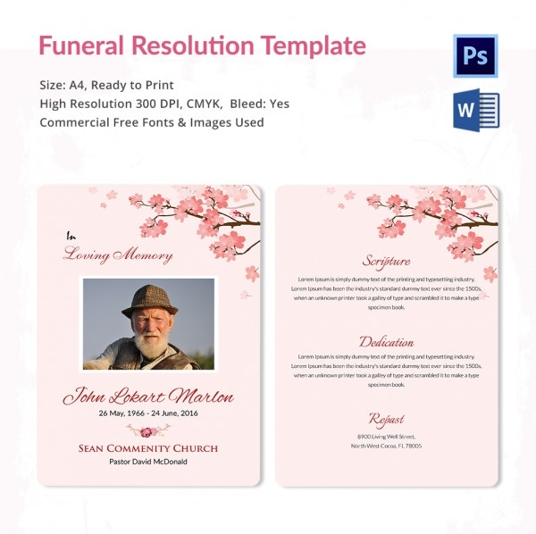 Memorial Funeral Resolution Template
