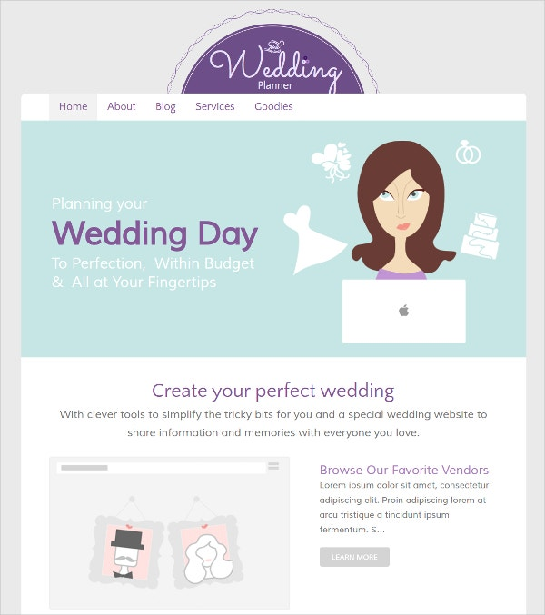 Responsive Wedding Planner Concrete5 Theme $43