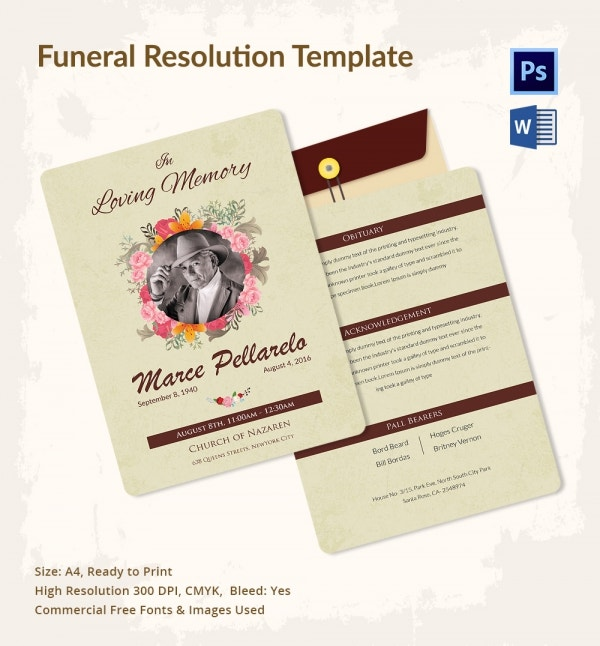 Immediate Disposition Funeral Resolution Template