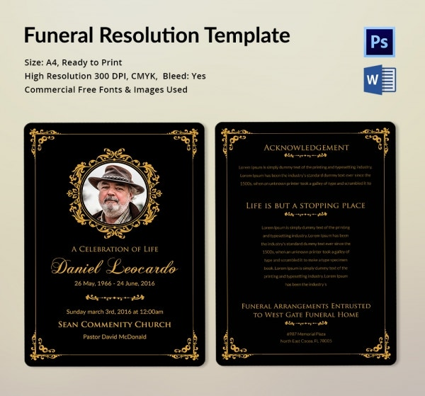 Premium Funeral Resolution Template Download