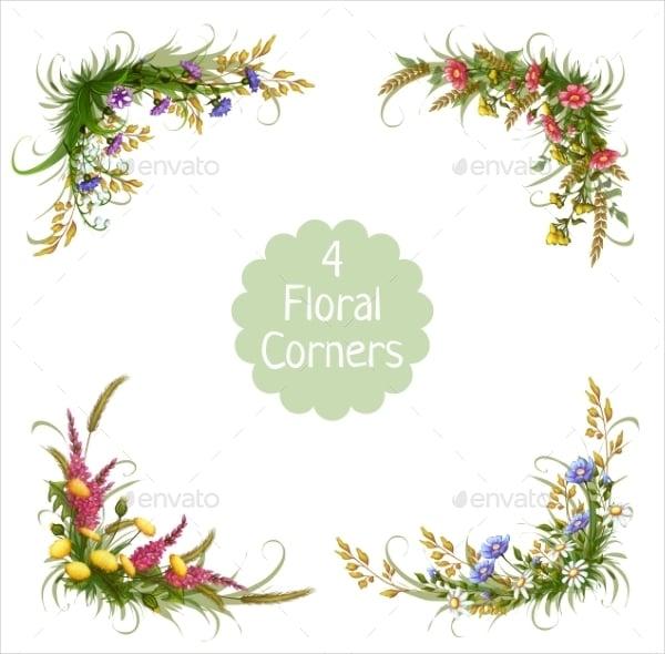 corner floral vector