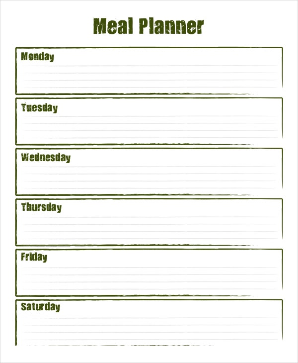 Meal Planning Template Printable Menu Planner 30 Family Meal