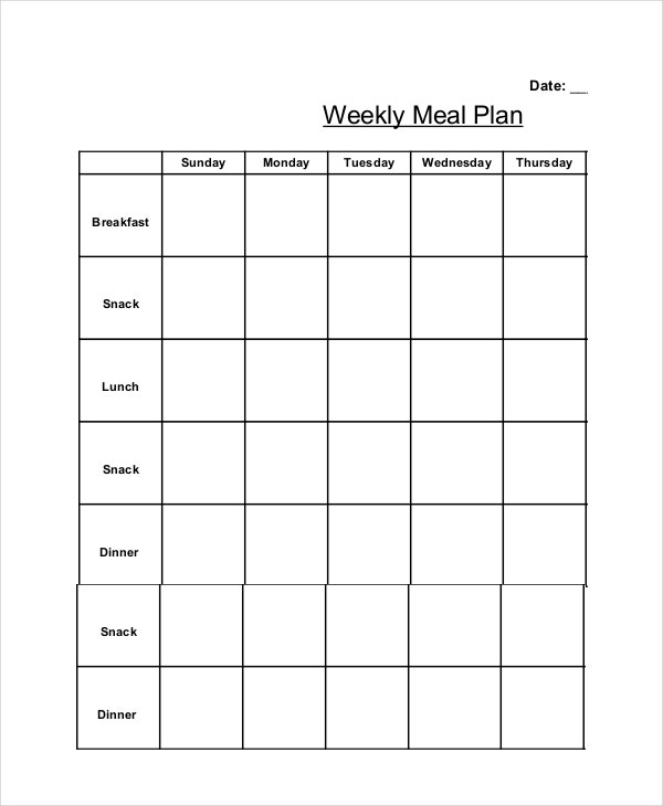 Weekly Meal Planner 10 Free PDF PSD Documents Download – Weekly Meal Plan Template