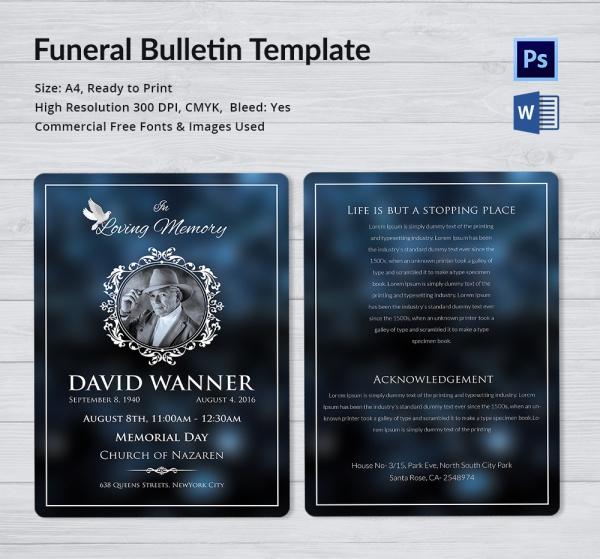 Memorial Funeral Bulletin Template