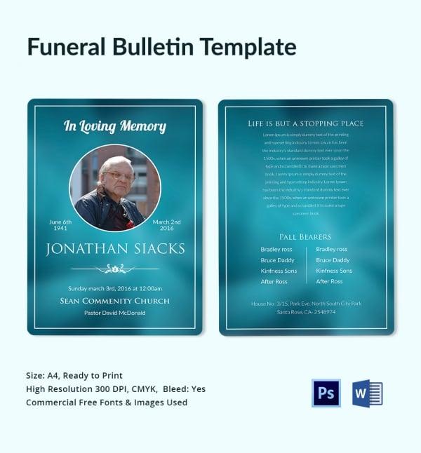 Funeral Memory Bulletin Template