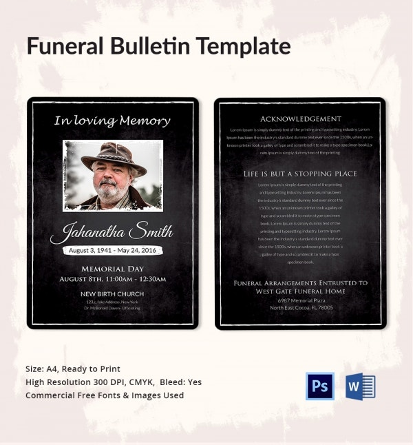 Traditional Funeral Bulletin Template